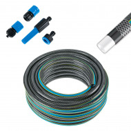 Kit complet pentru udat gradina, Furtun de gradina Premium, 20 m, insertie textila, 4 conectori inclusi.
