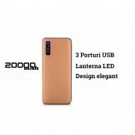 Baterie externa Power, 20000 mAh, cu 3 USB, pentru telefoane, tablete, camere foto