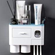 Sertar multifuntional pentru baie , dispenser pasta de dinti, suport 4 periute si 2 pahare magnetice