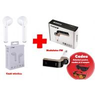 Pachet promotional pentru masina Casti wireless i7s si Modulator FM Bluetooth G7 + Cadou Ochelari de condus zi/noapte HD