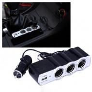 Bricheta auto priza tripla cu USB