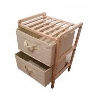 Dulap depozitare din lemn cu 2 sertare din panza pentru baie