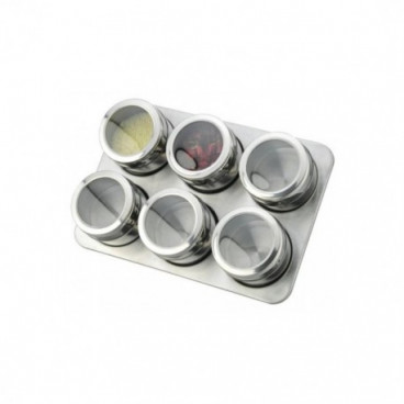 Set inox condimente 7 piese suport magnetic