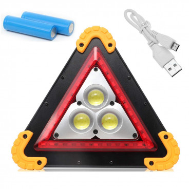 Lanterna de avertizare tip triunghi cu 3 LED-uri COB