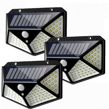 Set 3 Lampi cu panou solar, 100 LED si senzor de miscare