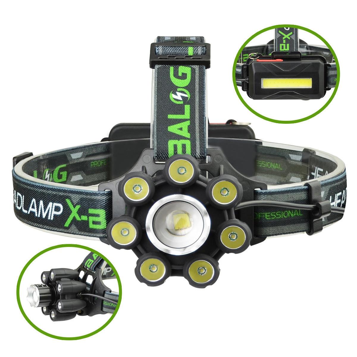 Image of Lanterna frontala 8 LED circulare cu acumulatori si iluminare SOS COB