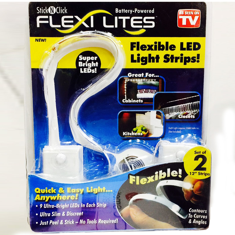 Set 2 benzi LED ultra subtiri autoadezive Stick N Click Flexi Lites pret