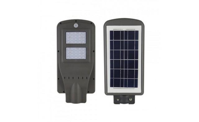 Image of Lampa stradala 2x Cobled, 100 W cu senzor, panou solar, telecomanda si suport