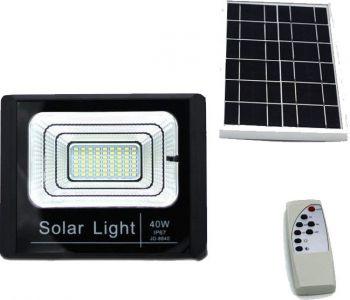 Image of PROIECTOR LED DE EXTERIOR 40W CU LUMINA ALBA RECE CU PANOU SOLAR JD-8840